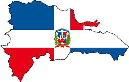 Map Dominican Republic-Vector. Illustration Vector of a Map and Flag from Dominican Republic Royalty Free Stock Image