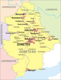 Map of Donetsk Oblast. With major cities and roads Royalty Free Stock Images