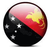 Map with Dot Pattern on flag button of Independent State Papua N Royalty Free Stock Photos