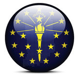 Map with Dot Pattern on flag button of USA Indiana State Royalty Free Stock Photos