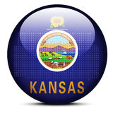 Map with Dot Pattern on flag button of USA Kansas State Stock Photos
