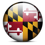 Map with Dot Pattern on flag button of USA Maryland State Stock Photos