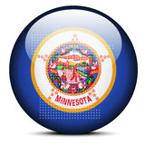 Map with Dot Pattern on flag button of USA Minnesota State Stock Photography