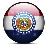 Map with Dot Pattern on flag button of USA Missouri State Royalty Free Stock Image
