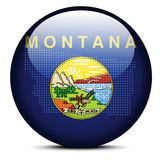 Map with Dot Pattern on flag button of USA Montana State Royalty Free Stock Image