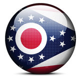 Map with Dot Pattern on flag button of USA Ohio State Royalty Free Stock Photo