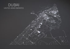 Map of Dubai, satellite view, map in negative, United Arab Emirates Royalty Free Stock Image