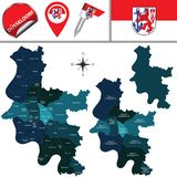 Map of Dusseldorf with Districts, Germany. Vector map of Dusseldorf with districts or bezirk, Germany with named districts and travel icons stock illustration