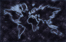 Map of Earth. With continents Stock Photography