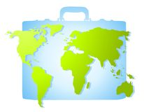 Map of Earth on Blue Briefcase Royalty Free Stock Photos