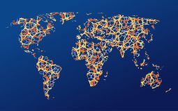 Map of the earth, communication stock image