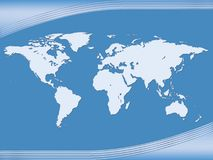 Map. Earth Globe. Illustration depicting a map of land on a blue background Stock Image