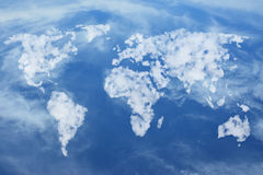 Map of the earth made of clouds Stock Photos