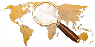 Map of Earth under magnifying glass, analysis concept, 3D render. Ing isolated on white background Stock Photo