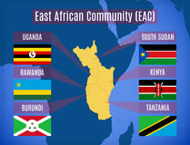 Map of the East African Community EAC royalty free illustration