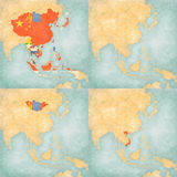 Map of East Asia - Blank Map, All Countries, Mongolia and Vietnam. Blank map and all countries, Mongolia and Vietnam flags on the map of East and Southeast Asia Stock Photography