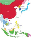 Map East Asia. A photo taken on the map of southeast asia on a globe Royalty Free Stock Images