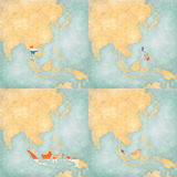 Map of East Asia - Thailand, Philippines, Indonesia and Malaysia. Thailand, Philippines, Indonesia and Malaysia, flags on the map of East and Southeast Asia in Stock Images