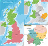 Map of East England Royalty Free Stock Photo