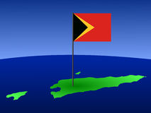 Map of East Timor with flag Stock Photography