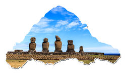 MAP OF EASTER ISLAND WITH MOAI Stock Photo