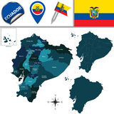 Map of Ecuador with named provinces Stock Photography