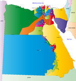 Map of Egypt. Egypt map designed in illustration with the regions colored in bright colors and with the main cities. On an illustration neighbouring countries vector illustration