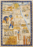 Map of Egypt drawn on papyrus. With elements most prominent of the antique Egypt royalty free stock photos