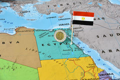 Map of Egypt, flag and Egyptian pound royalty free stock photos