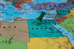 Map of Egypt with a green pushpin stuck Stock Photography