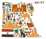 Map of Egypt made of national symbols Royalty Free Stock Photo