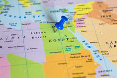 Map of Egypt with a pushpin stuck. Map of Egypt with a blue pushpin stuck Royalty Free Stock Image