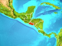 Map of El Salvador. El Salvador highlighted in red from Earth's orbit. 3D illustration. Elements of this image furnished by NASA stock illustration