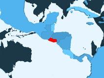 Map of El Salvador. El Salvador in red on blue political map with transparent oceans. 3D illustration vector illustration