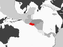 Map of El Salvador. El Salvador in red on grey political map with transparent oceans. 3D illustration royalty free illustration