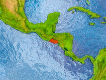 Map of El Salvador. El Salvador in red on realistic map with embossed countries. 3D illustration. Elements of this image furnished by NASA Stock Images