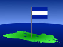 Map of El salvador with flag. Map of El salvador and their flag on pole illustration Stock Photo