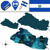 Map of El Salvador with named departments Stock Image