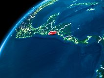 Map of El Salvador at night. El Salvador highlighted in red from Earth's orbit at night with visible country borders. 3D illustration. Elements of this image Royalty Free Stock Image