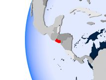 Map of El Salvador on political globe. El Salvador in red on political globe with transparent oceans. 3D illustration Royalty Free Stock Photography