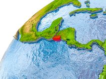 Map of El Salvador in red on globe. El Salvador on simple globe with visible country borders and realistic water in the oceans. 3D illustration. Elements of this Royalty Free Stock Image