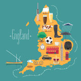 Map of England, Britain vector illustration, design Stock Images