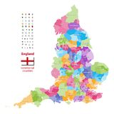 Vector map of England ceremonial counties. Flag of England. Navigation and location icons. Map of England ceremonial counties. Flag of England. Navigation and Royalty Free Stock Photos