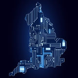Map of England with electronic circuit Royalty Free Stock Image