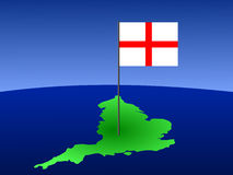 Map of England with flag Stock Image