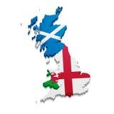 Map England Scotland Wales. Detailed illustration of a map of England, Scotland and Wales with their nationnal flag Stock Image
