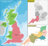 Map of England Royalty Free Stock Photography