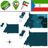 Map of Equatorial Guinea with Named Provinces Stock Photos