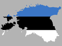 Map of Estonia with flag Stock Photo
