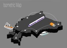 Map Estonia isometric concept. Stock Photo